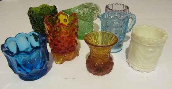 Group glass toothpick holders vintage