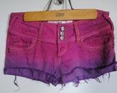 SALE Ombre Dip Dyed Denim Jean Shorts - Size 3 - Brand New Never Worn Handmade Distressed Lowrise Fuschia Pink Purple Summer Fashion