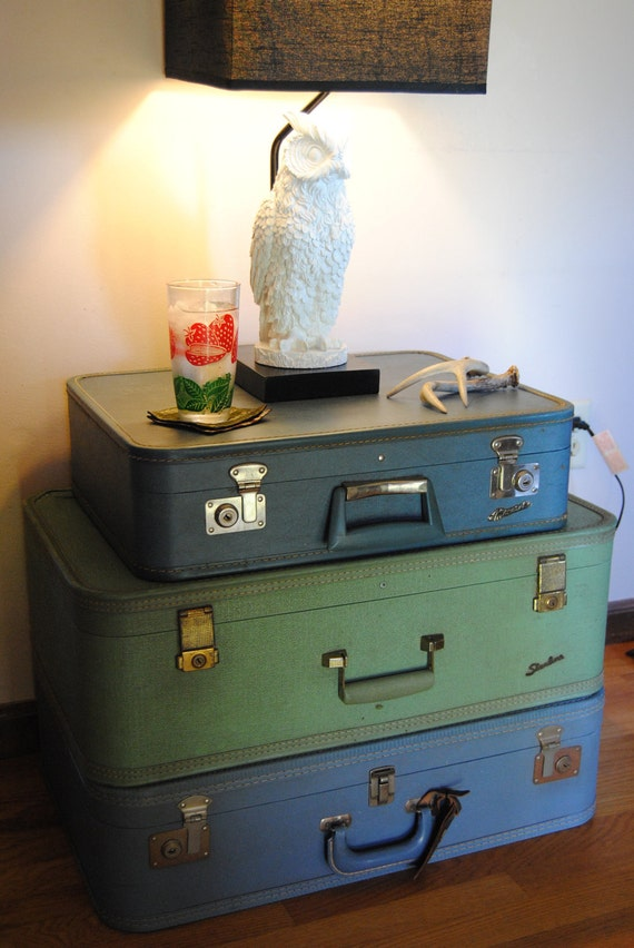 Stacked Vintage Suitcase Table