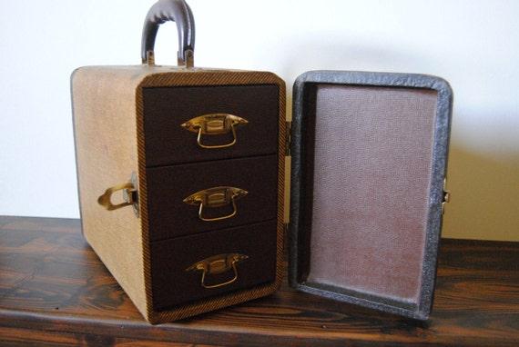 Barnett and Jaffe Baja Slide Case - Home Decor 35mm Kodachrome Photography Collectable Slideshow Tweed Jewelry Box Storage Organizer