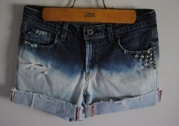 SALE Bleached Ombre Dip Dyed Studded Denim Jean Shorts - Size 4 - Upcycled Polo Ralph Lauren Distressed Studs White Blue Summer Fashion