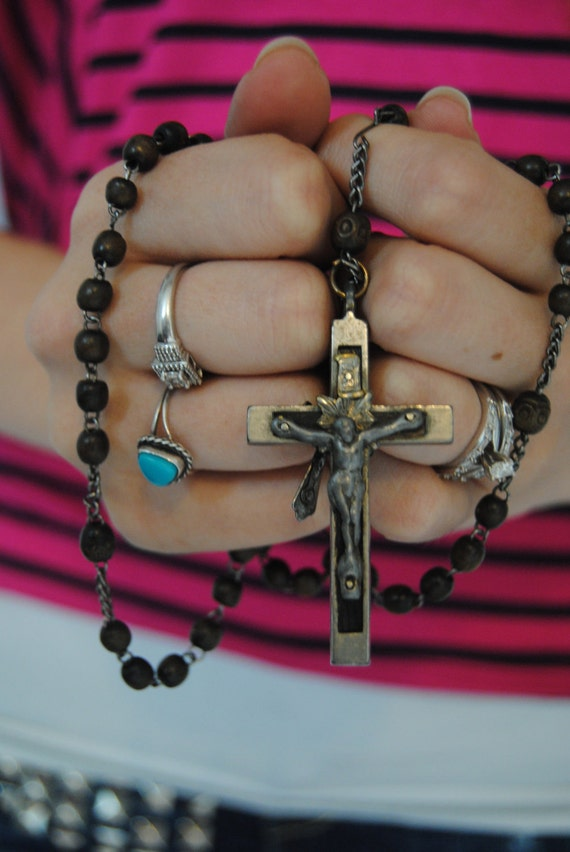 Wooden Beaded Rosary - Dark Brown Religious Collectable Catholic Something Old Wedding Jesus Beaded Crucifix Cross
