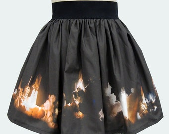 Space Shuttle Launch Border Print Skirt