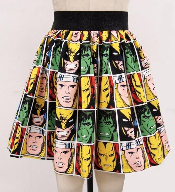 Comic Book Block Skirt