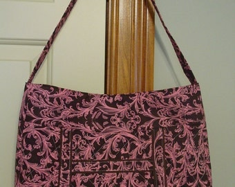 Brown and Pink Shoulder Bag with Cosmetic Bag