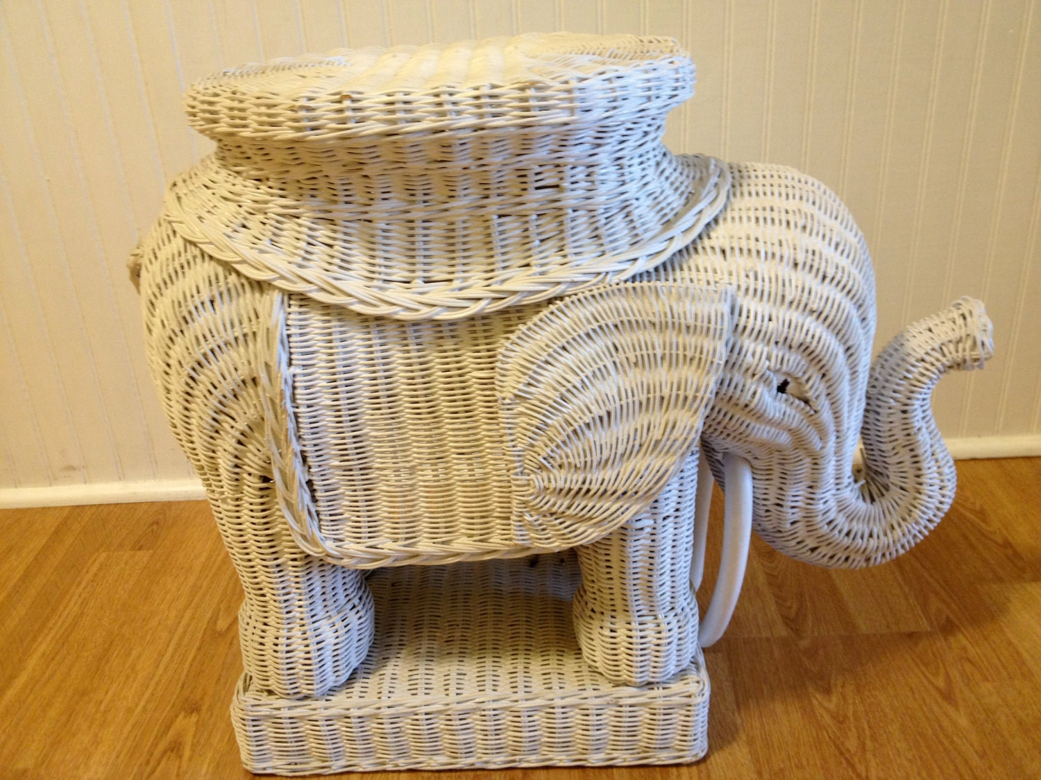 Vintage White Wicker Elephant Table Accent Table Moroccan Boho