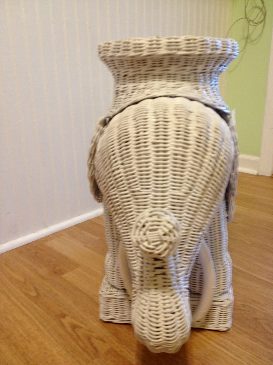 Vintage White Wicker Elephant Table Accent Table By