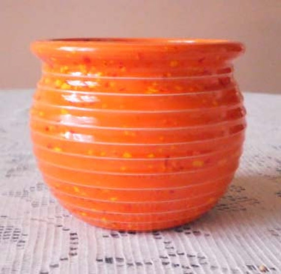 Vintage Handmade Orange Scioto Ceramic Planter .
