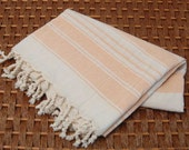 Vintage Hand Woven Cotton Peshtemal Towel with Pinkish Orange Stripes