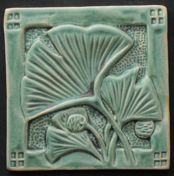 Items similar to arts and craft style ginkgo turquoise for Arts crafts tiles