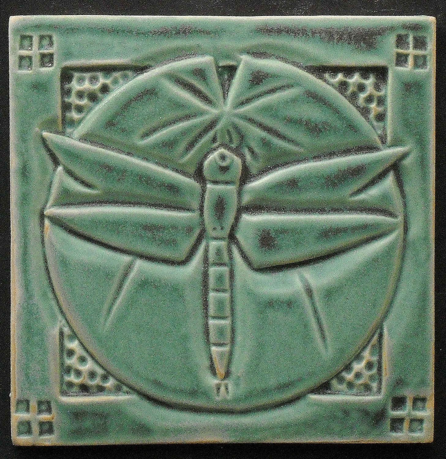 Arts and Crafts Mission Style Dragonfly Tile Hand Made - photo#25