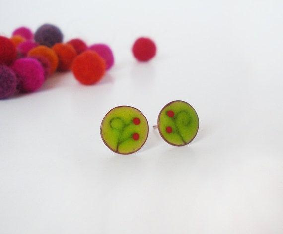 summer berries- green enamel stud earrings