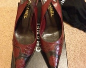 Authentic Vintage Shoes - Chanel Camelia Slingback Heels (Size 37.5)