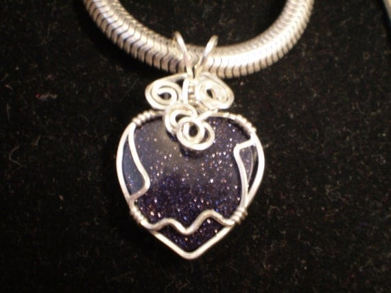 Blue Goldstone Pendant, Blue Heart Pendant Solid Sterling Silver 935 Wire Wrapped in Argentium Anti-tarnish wire