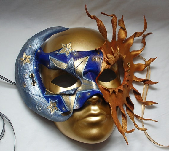 Moon Eclipses the Sun Celestial Dance Leather Masquerade Mask.