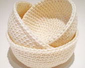 Crocheted Bowls set of 3 - Medium - Oyster  - Ready to Ship - 30% recycled yarn