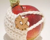 Clearance - sale - Apple Cozy - White with leaf and leaf button - 30% recycled yarn - Ready to Ship