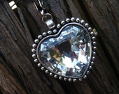 Heart, pendant, silver plated glass jewelry