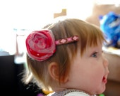 Made to Order Polka Dot Red rosette headband or clip