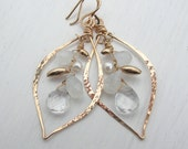 Bridal Wedding Earrings, Wedding Pearl, Crystal and Moonstone