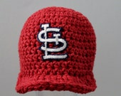 Red St. Louis Cardinals Kids Hat / Newsboy Crochet Red Girl or Boy Baseball Hat / Any Size Brimmed Cap / Made to Order
