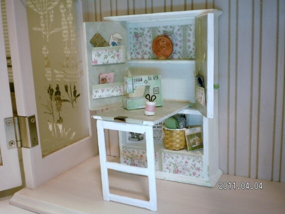 Free Shipping to the US - Shabby Chic Miniature Sewing Cabinet