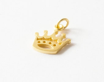 Gold Plated Crown Charm, Gold Crown Charm, Princess Charm, Gold Princess Charm
