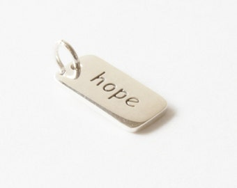 Hope Sterling Silver Word Charm, Hope Charm, Silver Hope Charm,