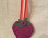Purple felt strawberry brooch