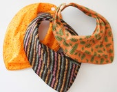 creases Bandana Bibs- set of 3- brown, orange, stripe