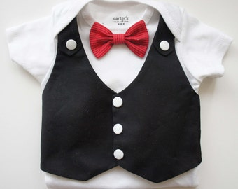 Tuxedos Baby Suit- Changeable red bow tie, vest , short sleeve bodysuit. Bow tie on pic sold out, plz select another color