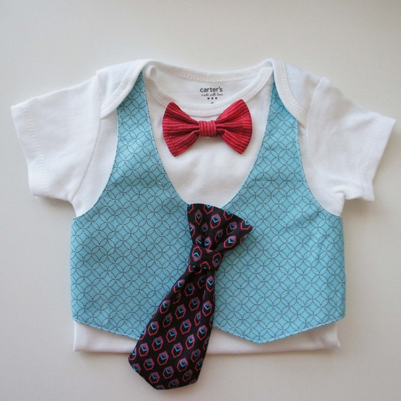 Tuxedos Baby Suit- Removable red stripe bow tie And a geometria tie, Turquoise geometria vest , short sleeve bodysuit