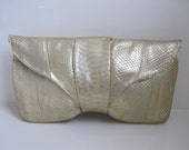 RESERVED f/ KIM DAY - Vicky Genuine Python Snake Skin Leather Clutch Bag Purse Handbag in Gold Metallic