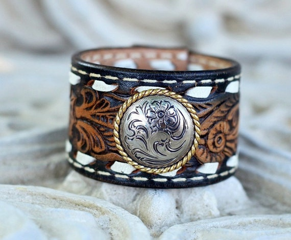 Brown Tooled Leather Cuff Bracelet