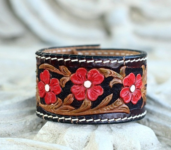 Black & Brown Leather Tooled Cuff with Red Flowers