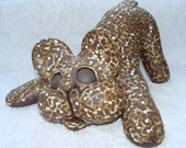 French Bulldog in Dark Ceramic Clay with Light Squiggle Pattern in the Playbow position