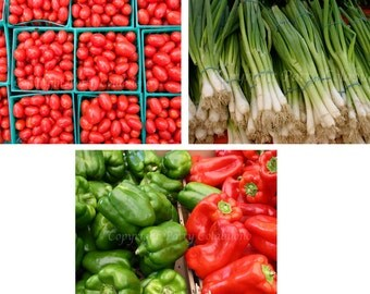 Salsa, Set of Three 5x7 Prints, Fine Art Photography,Photos, Green Onions, Peppers, Tomatoes
