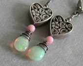 Liaison: Welo Opal & Angel Coral Oxidized Sterling Heart Earrings