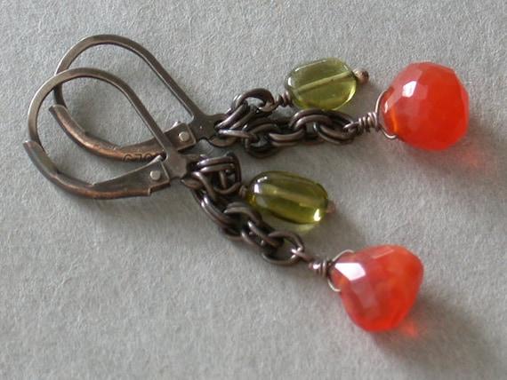 Sunny: Fire Opal & Peridot Oxidized Sterling Earrings