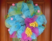 Turquoise & Hot Pink Spring Deco Mesh Wreath