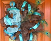 Chocolate Brown & Turquoise Peacock Deco Mesh Wreath