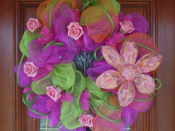 Bright Colored Spring/Summer Deco Mesh Wreath