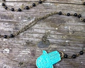Turquoise Hamsa Rosary Necklace