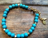 Turquoise and Gold Nugget Bracelet