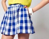 Vintage Gingham Picnic Plaid Mini Circle Skirt
