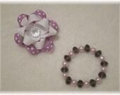 Purple Flower Clip and Bracelet Set