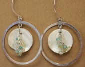 RESERVED: Sterling silver hoop with natural shell and stone cluster