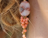 RESERVED: Stone and Coral Cluster Earrings