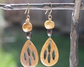 RESERVED: Carved Wood Tear Drop Earrings