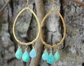 RESERVED for Jody Maron: Stunning Peruvian Opal and Glistening Gold Tear Drops